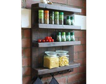 Wand Regal Gewurzregal Kuchen Regal Holz Braun Shabby Vintage Landhaus Bauernhaus Fertig Montiert In 2020 Regal Holz Gewurzregal Holz