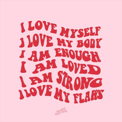 Self love affirmations aesthetic art print. Add some good vibes and positivity to your room with this self love affirmations art print! Self love, motivational quote room decor. Pink and red minimal self love print. Body positivity, self love, love yourself, love your body. Positive vibes, positive quotes print. Aesthetic room decor. Instagram @basicartkid