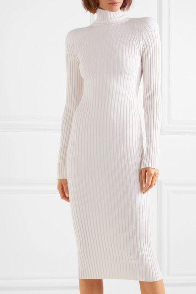White V-neck Midi DressWhite Silk Knitted V-neck Dress