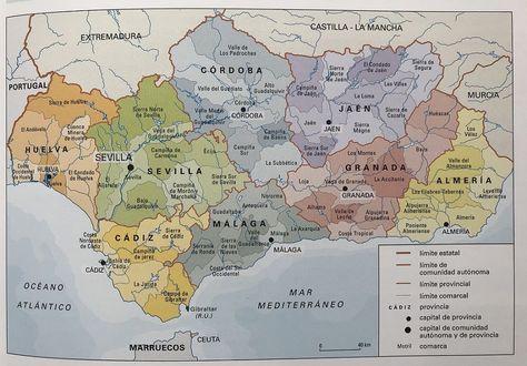Mapa De Andalucia Fisico Y Politico Mapa De Todas Las Provincias