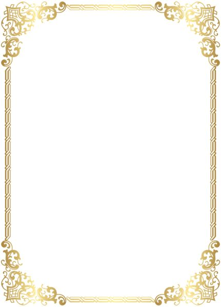 Gold Border Frame Transparent Clip Art Image
