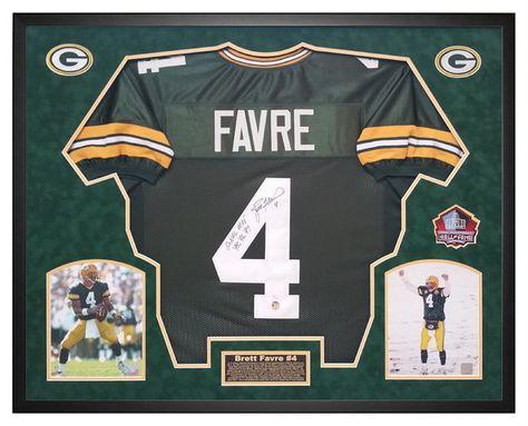 fccc12884d4 NFL Autographs / Brett Favre Green Bay Packers Autographed Jersey Custom  Framed Shadow Box Favre Hologram & JSA #mancave #mancavedecor #woodworking  ...