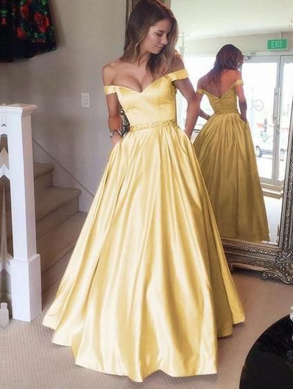 abf9a221911614 A-line Off the shoulder Long Prom Dresses Cheap Simple Prom Dress ...
