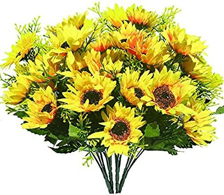200pcs Artificial Yellow Sunflower Heads 1.8 Inches Silk Fabric Fake Sunflower H