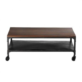 Solid Sheesham And Metal Coffee Table On Castors W 110cm Industry Coffee Table Metal Coffee Table Coffee Table Wood