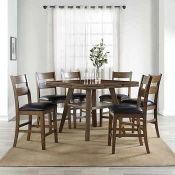 Pleasant Dillon 7 Piece Counter Height Square To Round Dining Set In Caraccident5 Cool Chair Designs And Ideas Caraccident5Info