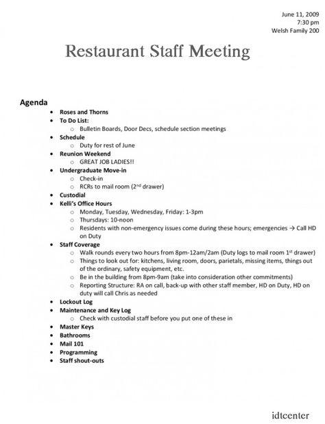 Restaurant Staff Meeting Agenda Template Meeting Agenda Meeting