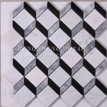 Polished Black Carrara White 3d Effect Square Rhombus Natural Stone Marble Mosaic Tile For Bathroom Back Splash Stone Mosaic Marble Mosaic Tiles Marble Mosaic
