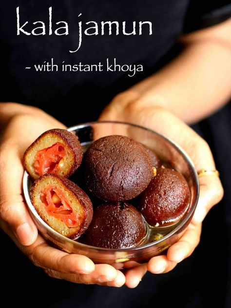 kala jamun recipe, black jamun with instant khoya or mawa with step by step photo/video. indian dessert prepared with milk powder for festival or occasions.