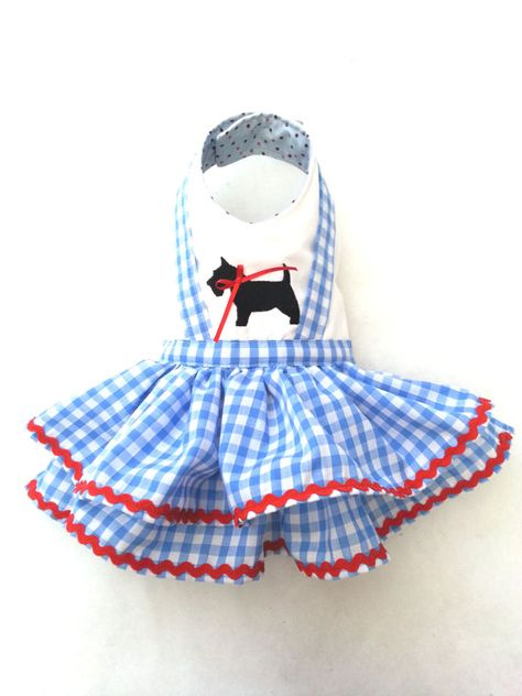 Small dog clothes dress Chihuahua T - cup puppy Yorkie coat Dorothy Wizard of Oz inspired Dress XS Custom size available