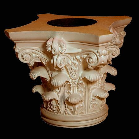 """Roman Corinthian Capital in Polyurethane, 14"""" X 14"""" across the top, 14"""" high to accommodate a column shaft 8"""" in diameter at the top and usually 10"""" diameter at the bottom. Another great classic look!"""