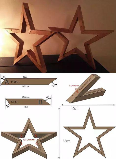 stern-aus-holz-basteln_tisch-und-sideboard-dekorieren-mit-diy-holzsternen #WoodworkingCreative