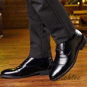 シークレットシューズ メンズ 革靴 皮靴 ビジネスシューズ 光沢 本革