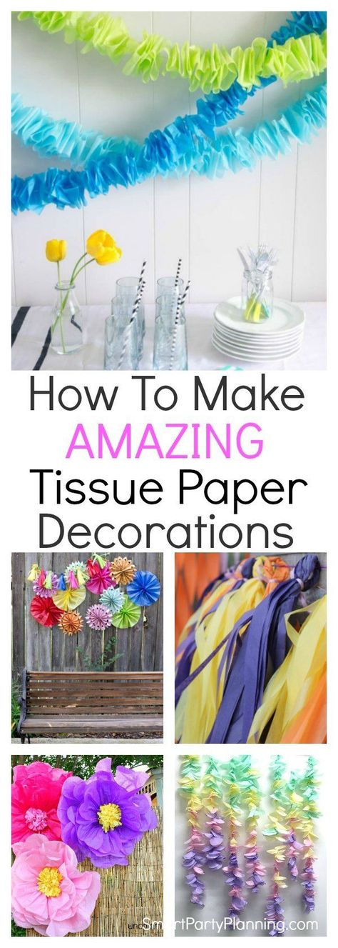 Learn how to make 11 amazing tissue paper decorations. DIY decorations are always good for the party budget, and tissue paper makes awesome backdrops, pom poms and garlands. Suitable for all party themes. #Tissuepaper #Decorations #DIY #Homemade #Easy #Howto
