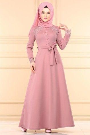 P L Dantel Detay Tesettur Elbise Pl828 Pudra Special Dresses Muslimah Dress Fashion Dresses