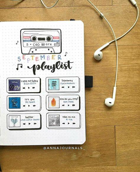 Idée page playlist pur bujo, bullet journal