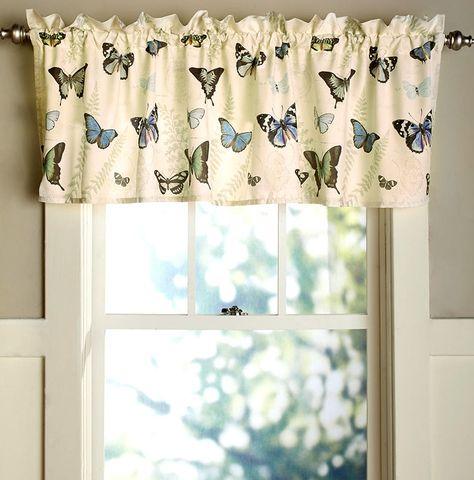 Butterfly Pattern Window Valance Curtain Kitchen Bathroom ...