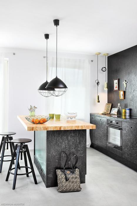 Wygdna Wyspa Kuchenna Z Plyty Osb Malowanej Na Czarno Osb Furniture Kitchen Interior Osb