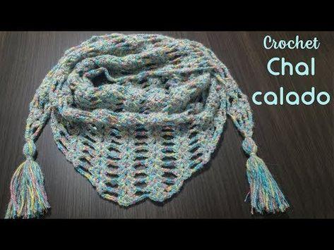 Chal corto o baktus calado a crochet | Chal de ganchillo, Patrones ...