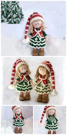 Crochet Amigurumi Free Patterns, Christmas Crochet Patterns, Holiday Crochet, Christmas Knitting, Knitting Patterns, Knitted Dolls Free, Crochet Ornaments, Crochet Snowflakes, Crochet Crafts