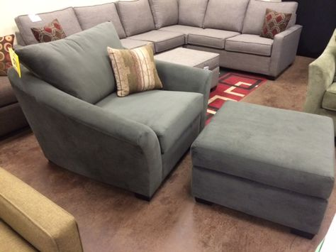 Amberly Chair Ottoman In Bella Pewter Customsofas Couch Sofa