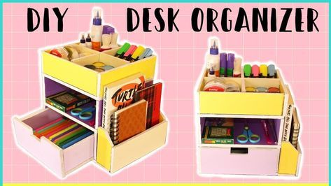 How To Make Cardboard Desk Organizer With Templates Diy Storage Organizer Youtube Diy Storage Organiser Cardboard Crafts Diy Desk Organization Diy