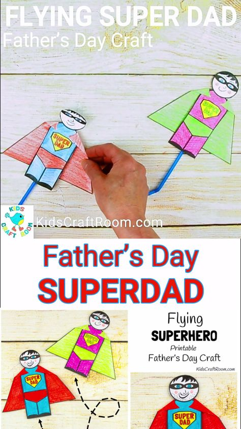 FLYING SUPERHEROES are such a fun Father's Day craft. Print, colour and blow to make your Father's Day Superhero fly! Every dad will love feeling like a superhero with this fun and interactive Father's Day gift idea.  #kidscraftroom #fathersday #fathersdaycrafts #fathersdaycraft #fathersdaygifts #printables #printablecrafts #superhero #kidscrafts #craftsforkids #kidsactivities #preschoolcrafts #fathers day videos Flying Super Dad
