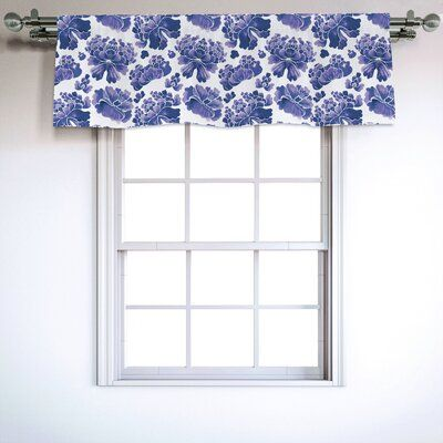 East Urban Home Ambesonne Floral Window Valance, Watercolor Painting Style Chinese Flower Ornaments On White Backdrop, Curtain Valance For Kitchen Bed