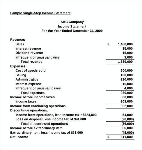 Income Statement Template Free