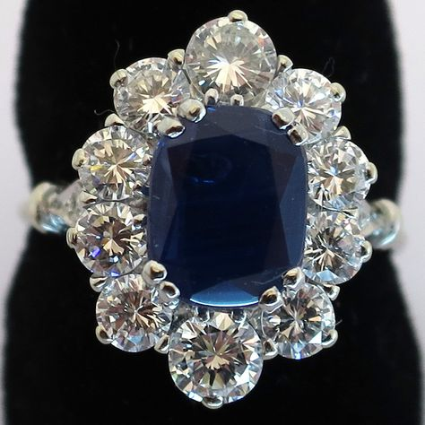 Bague saphir entourage diamants monture platine or blanc 1527