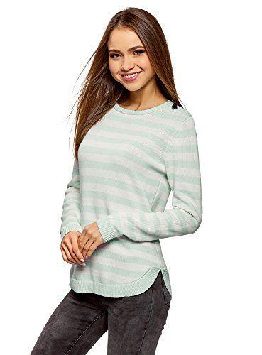 oodji Ultra Damen Pullover Gestreift mit Reißverschluss auf