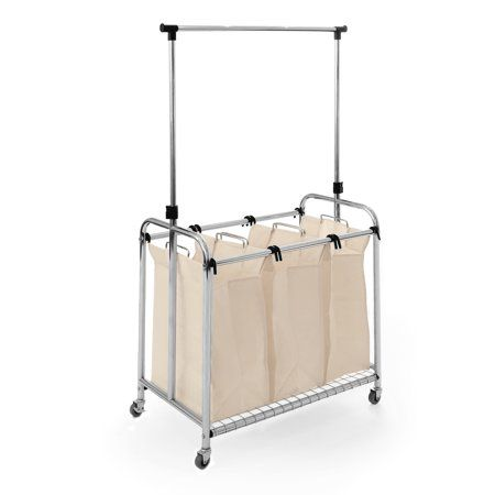 Seville Classics 3 Bag Laundry Hamper Sorter Cart With Clothes