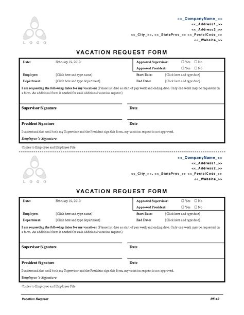 2010 Employee Vacation Request Form Engineering Lettering Change Management Startup Business Plan Template