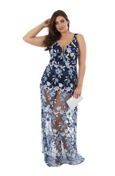 Vestido de Festa Plus Size Bordado Azul Marinho