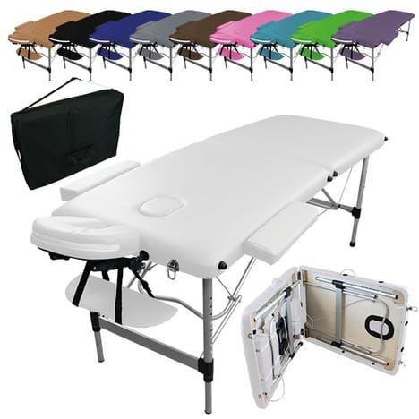 VIVEZEN Table de massage pliante 2 zones en aluminium + ...