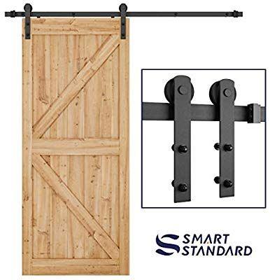 Amazon Com Smartstandard 6 6ft Heavy Duty Sturdy Sliding Barn Door Hardware Kit Smoothly And Quietly Barn Door Hardware Sliding Barn Door Hardware Barn Door