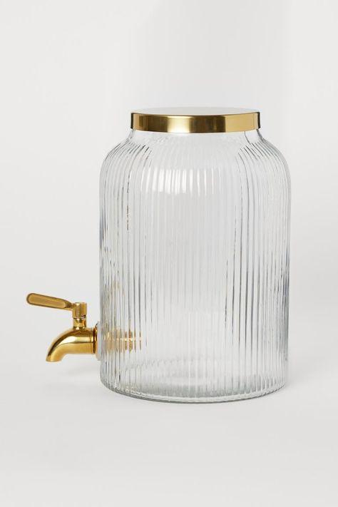 Dispenser Met Tapkraan Helder Glas Goudkleurig Home H M Be In 2020 Zapfhahn Behalter Glas