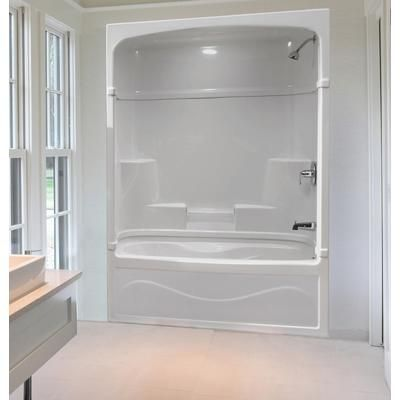 Beautiful Stunning White Acrylic Wall And Soaking Tub Also Great Shower Tub Combo  With Built In Caddy Bath As Well As Grey Half Painted Wall Bathroom Decor  Iu2026 ...