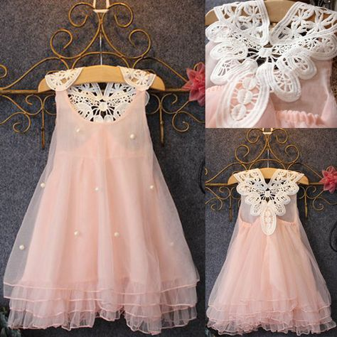 White Lace Toddler Kids Girls Summer Floral Pageant Party Dress Dresses Sundress