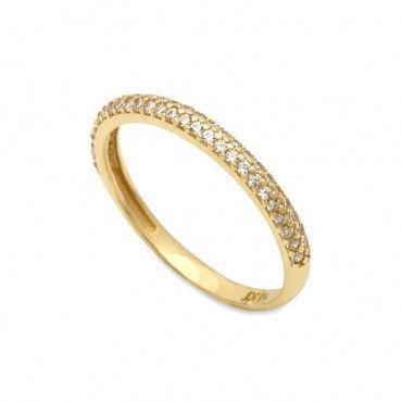 Μοντέρνο γυναικείο μισόβερο λεπτό δαχτυλίδι χρυσό Κ14 με δύο σειρές από  λευκές πέτρες ζίργκον στο επάνω a5face0487a