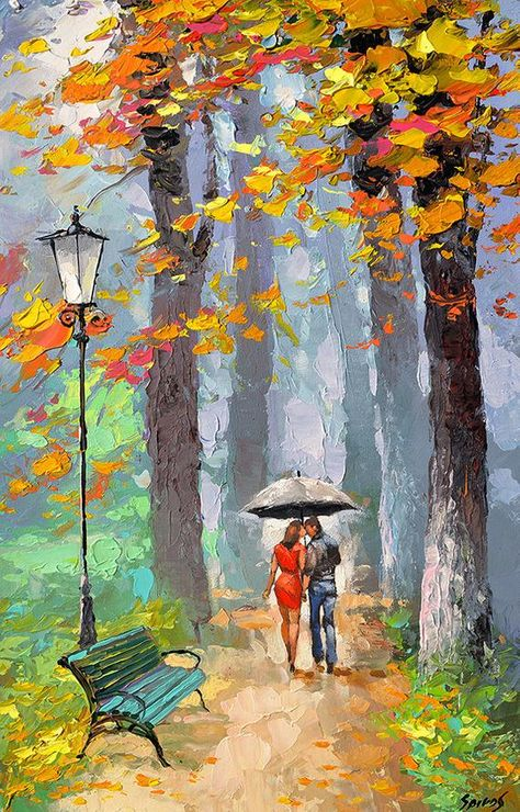 Title: Autumn kiss  Condition: Excellent Brand new Gallery Estimated Value: $2950 Type: Original Recreation Acrylic Oil Painting on Canvas by Palette Knife  This is a recreation of a piece which was already sold.  The recreation is 100% hand painted by Dmitry Spiros using oil and acrylic paint,