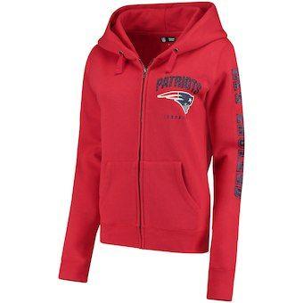 Women S New England Patriots New Era Red Playbook Glitter Sleeve Full Zip Hoodie Full Zip Hoodie Glitter Sleeve Zip Hoodie