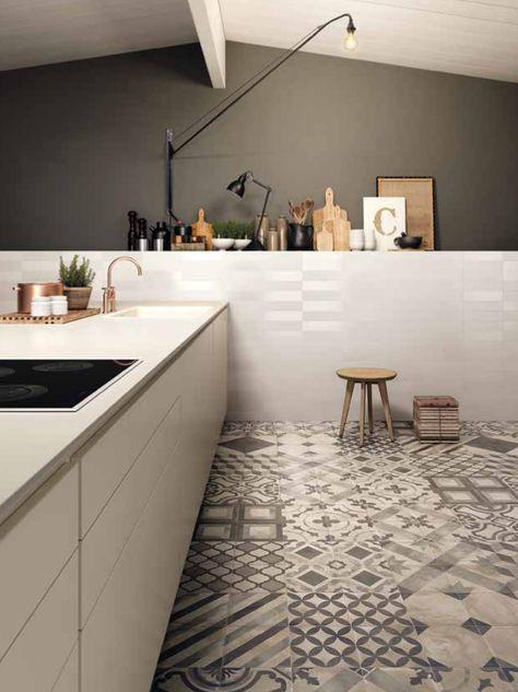 Cementine gres porcellanato cucina bianca | thisiskitchen ...