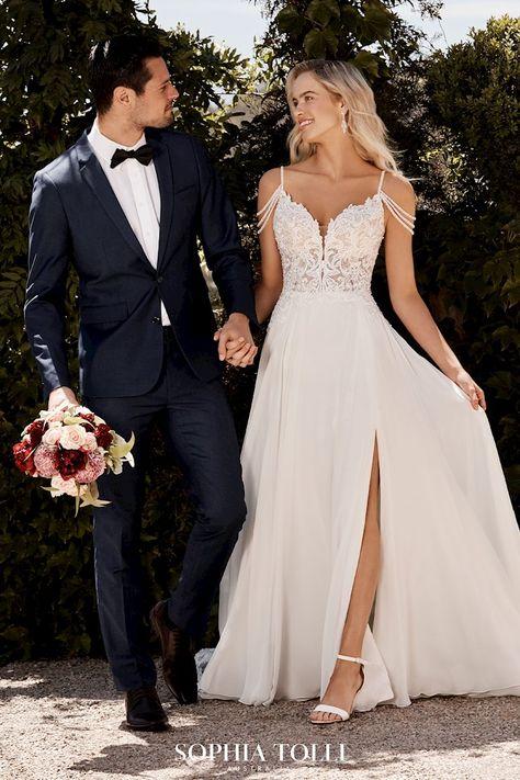 A-Line Wedding Dresses | Sophia Tolli Saskia y22043 Relaxed Wedding Dress, Dream Wedding Dresses, A Line Dress Wedding, Wedding Dresses With Slit, Beaded Wedding Dresses, Beach Wedding Gowns, Wedding Dress Straps, Modern Wedding Dresses, Beach Bridal Dresses