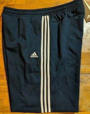 Adidas Mens 3-Stripe Fleece Shorts Blue//White