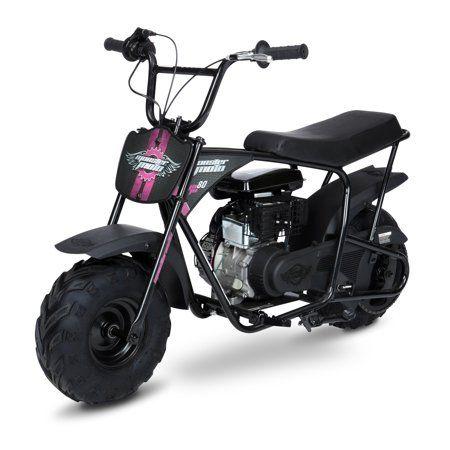Mega Moto 80cc Mini Bike Black With Red Pink Decals Mini Bike Gas Powered Mini Bike Bikes For Sale