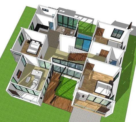 11 desain rumah modern 2 lantai dengan 3 kamar tidur di