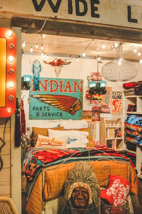 Our visit to the Junk Gypsy Headquarters in Round Top, Texas during Antiques Week. Western Bedroom Decor, Western Rooms, Hunting Bedroom, Rustic Western Decor, Room Ideas Bedroom, Dream Bedroom, Bedroom Inspo, My New Room, My Room