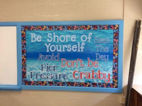 Nautical or Beach theme bulletin board idea