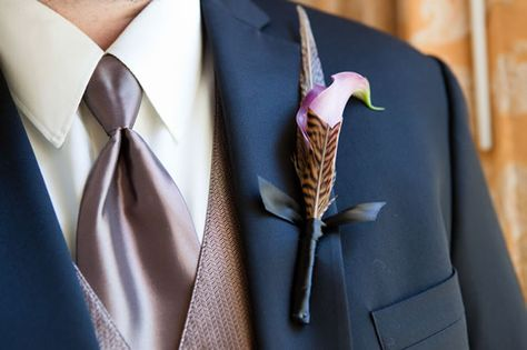 Boutonniere with feathers! Laurel Designs San Francisco Wedding Flowers Bay Area Wedding Florists